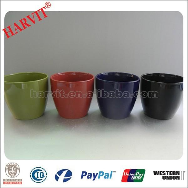 China Home Decor Flower Pot Wholesale Ceramic Glazed Flower Pot Coloured Plant Pots Small