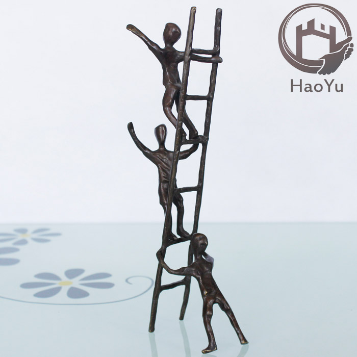 small bronze children playing sculptures for home decor