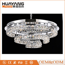 Indoor decorative clear round eternity ring suspension modern crystal led ceiling lamp