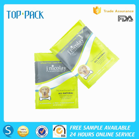 Custom logo high quality plastic three side sealing pouch for dog food packaging