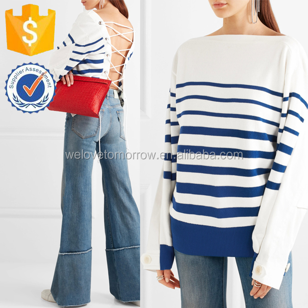 White With Navy Stripes Unique Sleeves Casual New Fashion Tops For Ladies Manufacture Wholesale Fashion Women Apparel (TF0660B)