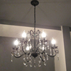 Black Iron Crystal Chandelier Candle Bulb