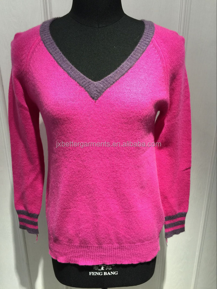 BGAX16108 V Neck Sweater Cashmere Pullover for Women with Contrast and Slit