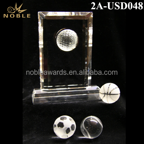 Noble New Custom Sport Ball Crystal Trophy Plaque