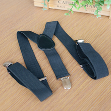 kids suspender hardware with 3clips black thin elastic toddler trouser suspender adjustable clips