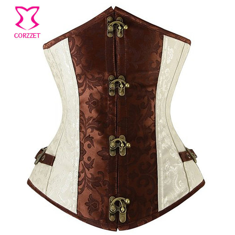 Steel Boned Waist Training Underbust Corset Brown/Beige Brocade Corselet Steampunk Gothic Corsets and Bustiers Women Clothing