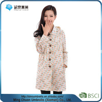 Lady's fashion raincoat custom women rain coat