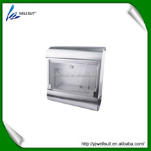 stainless steel waterproof lockable wall mounted square mailbox letterbox postbox with glass lid