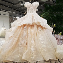 LS321003 2018 champagne off shoulder bridal gowns off custom size two layers skirt big wedding dress with long train from China