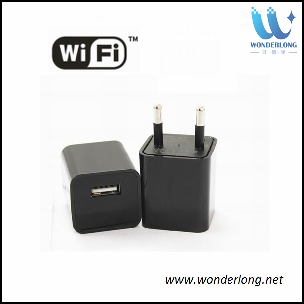 Black Mini Wifi USB Adapter Hidden HD Camera 1080P Covert Nanny Wall Charger Home Surveillance and Security charger camera