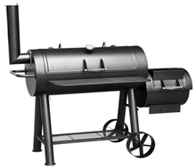 Customized Barrel BBQ Barbecue Charcoal Grills with Offset Smoker and Trolley Cart for Backyard Patio Cooking