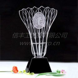 2d engraved tennis ,badminton shaped crystal trophy