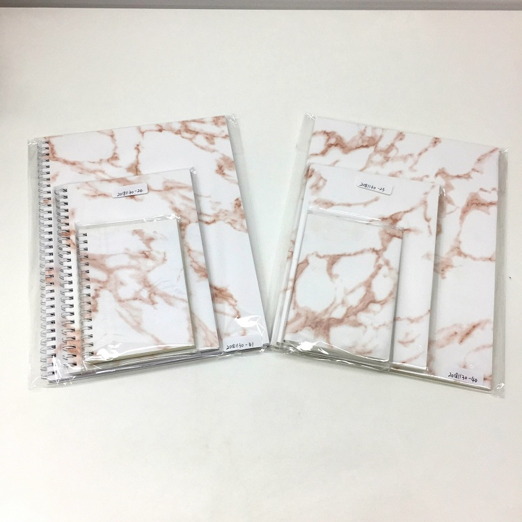 Wholesale Price Spiral Binding 4C Printing A5 Hardcover Marble Notebooks