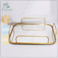 Rectangle plated metal storage tray,decorative metal nesting tray,metal mirror tray