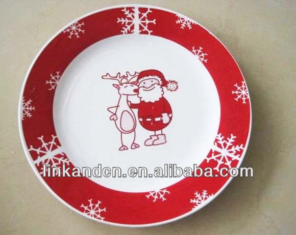 Red ceramic butter dishes with Santa&deer printing