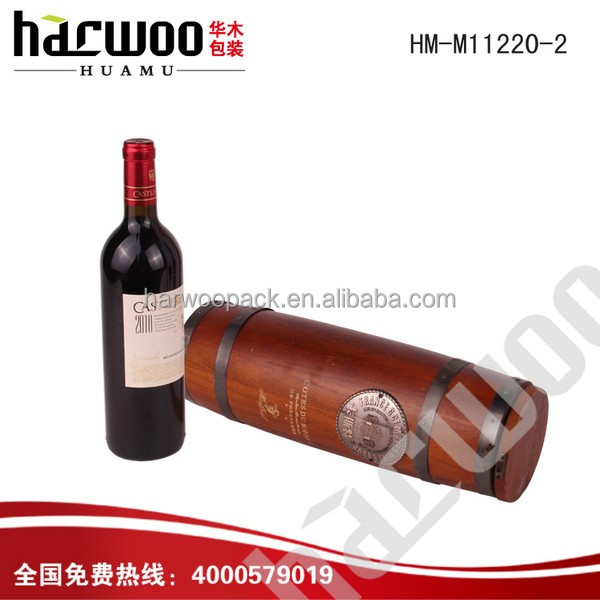 Hinged Wooden wine storage box with round shape