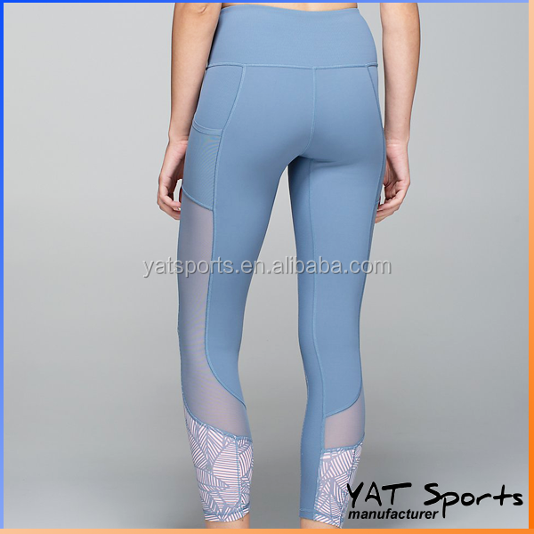 Mesh Insert Side Pocket Women Compression Pants sublimation printing Custom Yoga Tights