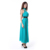 Mock Neck Sleeveless Lace Chiffon Long Evening Party Dress