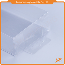 Transparent PVC plastic folding box rectangle packaging box with hanging hole hook