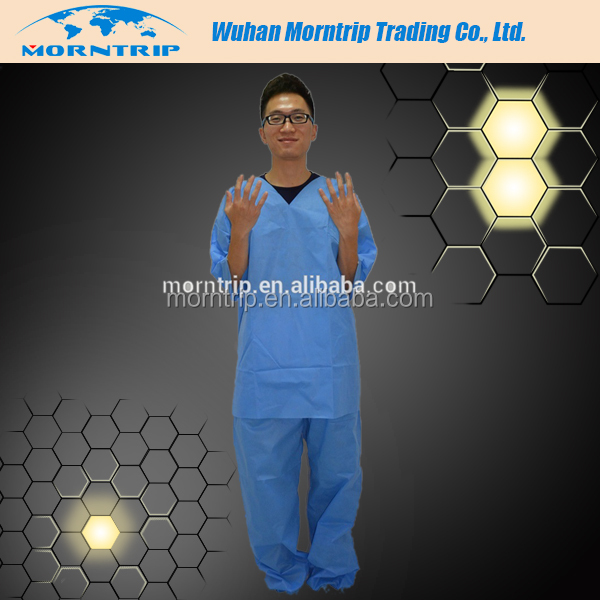 EO Sterilized Surgical Patient Suit Disposable Non Woven Scrub Suit for Patients