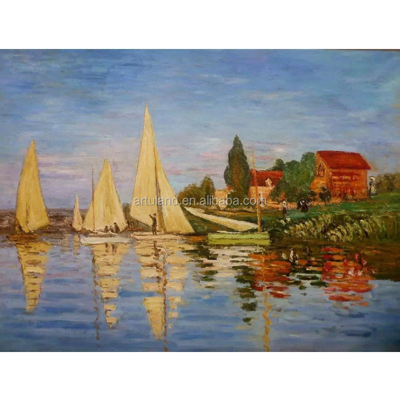Hot sales Handmade Cloude monet reproduction of boat scenery oil painting