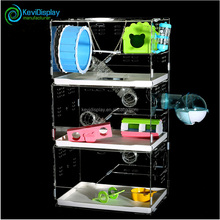 New Arrival Three Layer Acrylic Pet Display Cage For Hamster With Toys Inside