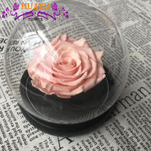 Dried orchids preserved rose flowers in glass dome for decoration
