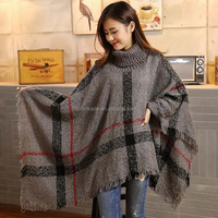 Women Oversized Sweater Cloak Coat Knitted Capes Poncho Shawls