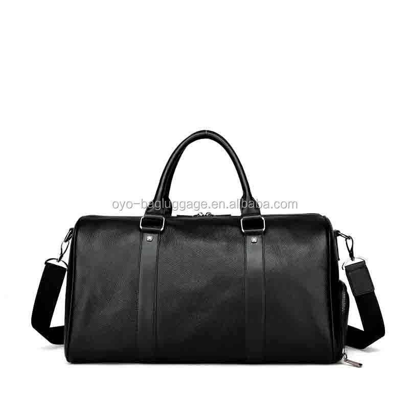 Customized Large Genuine Leather Black Travel Duffel Bag Italian Design