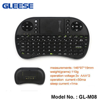 2.4G Mini Rechargeable Wireless Keyboard case and mouse for android tv box With Universal Remote Control