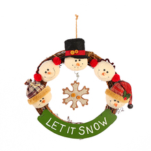 country style real rattan wooden christmas pendant decoration garland snowman elk santa claus doll christmas wreath wholesale