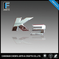 Hot sales 3D outdoors ABS plastic chrome plated self-adhesive K3 car emblem