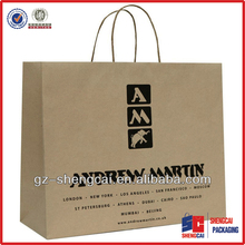 Branded brown kraft paper shopping bags wholesale for shoes packaging