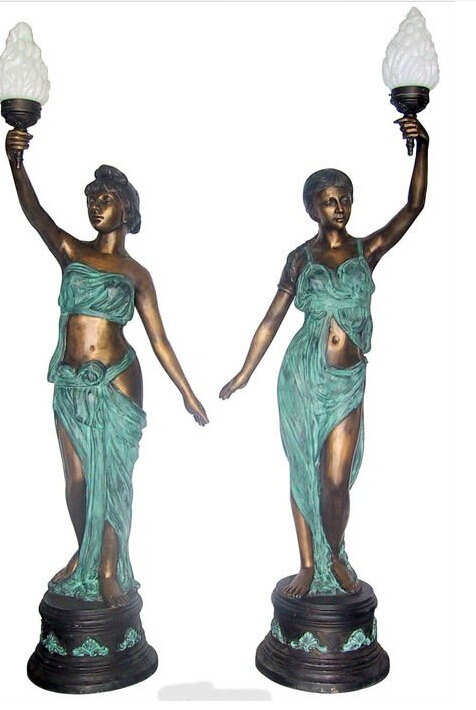 bronze lady sculpture lamp
