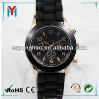 rose gold plating men silicone japanese wrist watch brands