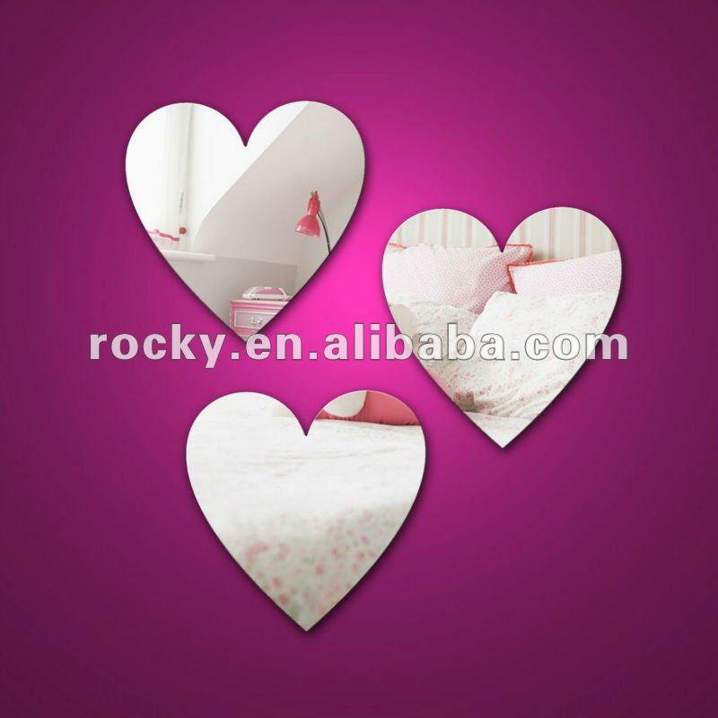 Rocky glass heart shape mirrors