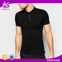 2016 Shandao Summer Dry Fit Casual 210g Short Sleeve Black 100%Cotton Golf Polo Shirt