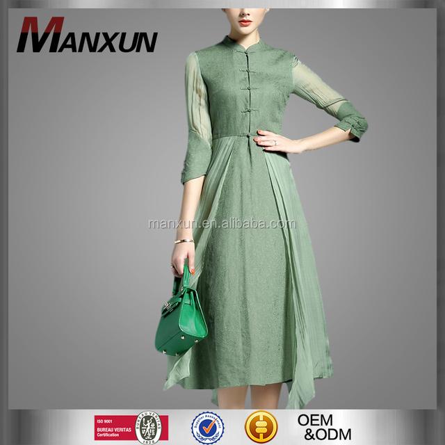 2016 Spring New Style Retro Printed Dress Irregular Stand Collar Three Quarter Sleeve Dress