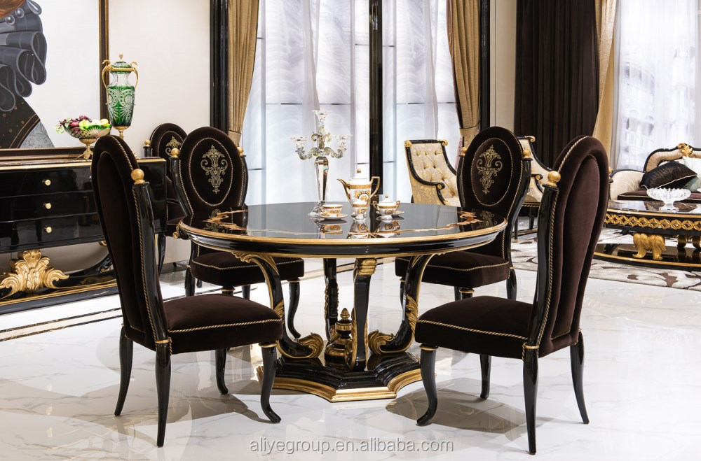 TN-005-Classic wooden round dining room set wooden dining table and chairs antique indian dining room furniture