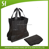 black nonwoven shopping bag/foldable tote bag with snap closure