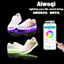 2016 colorful App controlled LED shoes USB rechargeable casual bluetooth shoes
