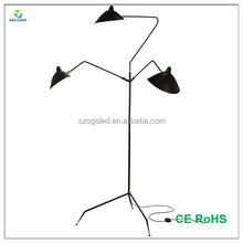 China Modern Rotatable Industrial E14 Bulb Tripod Floor Standing Lamp with Three Arms Metal Living Fork Giant Floor Lighting