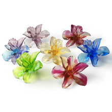 Artbay decorative colored glaze crystal glass Orchid blue red yellow green white purple