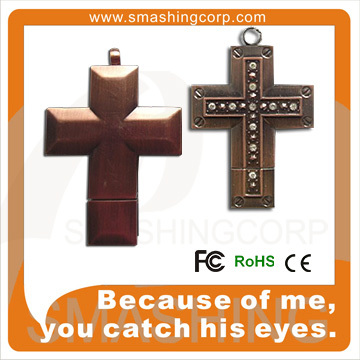 Metal golden cross-shaped diamond pendrive 2gb 4gb