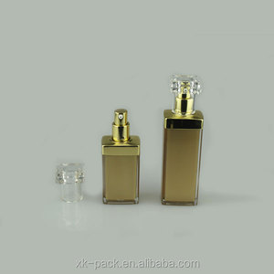 elegant square acrylic lotion bottle for personal care with aluminum pump 15ml 30ml 50ml