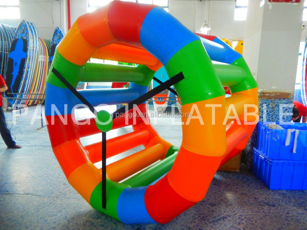 2016New Design colorful inflatable water floating wheel, inflatable floating water roller