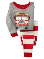 new boys and girls bus pattern cotton pyjamas suits kids long sleeve spring/autumn sleepwea
