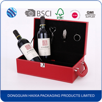 Custom design luxury leather wine bottle packaging box wholesale