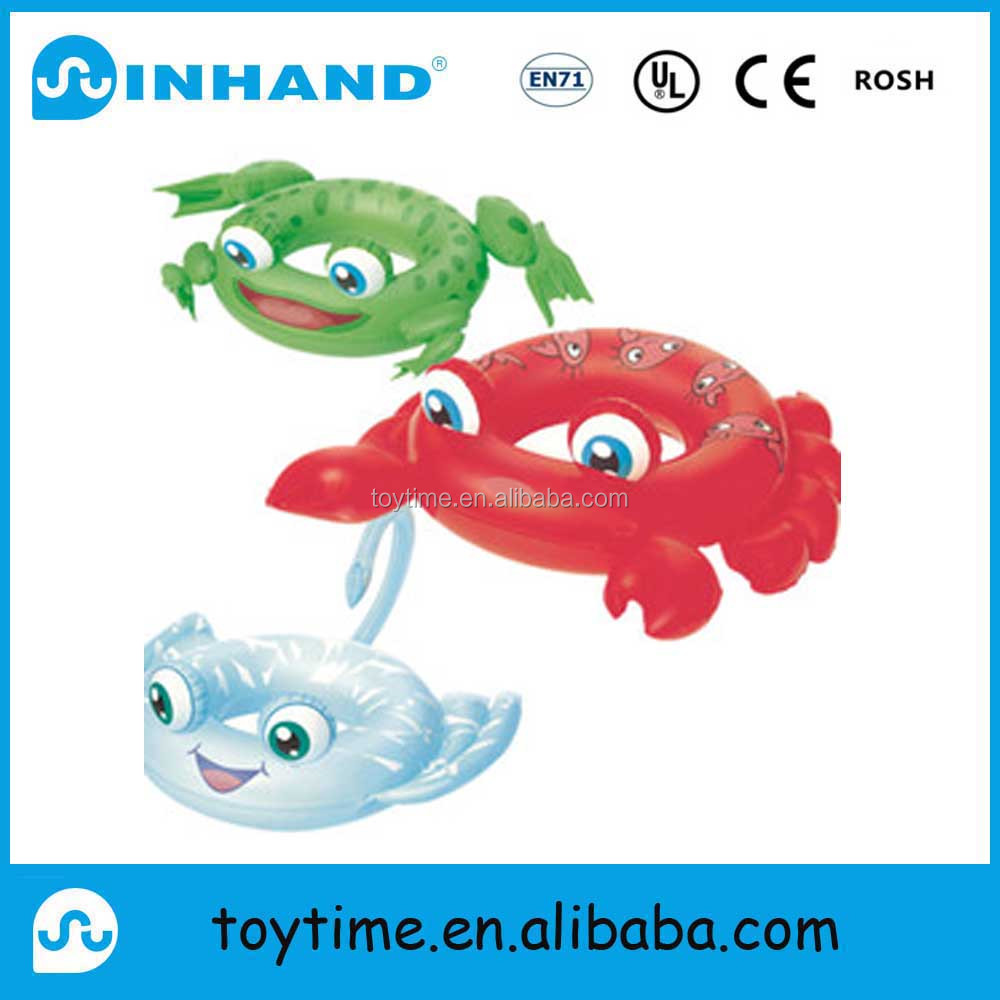 PVC inflatable crab-shape swimming ring, kids inflatable seat floater