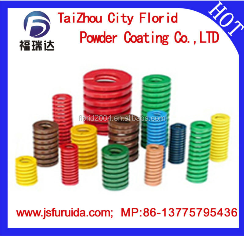 spray powder coating molten polyester powder coating baked by spray coated spring plastic spray powder coated